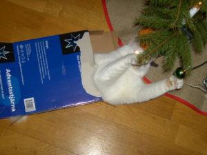 Sally attacking the Christmas tree via assault vehicle.